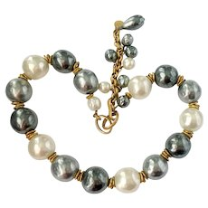 Aurientis Tri-Color Jumbo Baroque Pearl Necklace