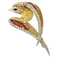 Boucher Sleek Bird in Flight Brooch, with Red and Clear Crystals