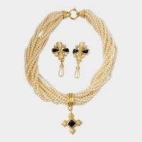 Carolee Faux Pearl Drop Necklace & Earrings, Maltese Cross Motif