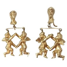 Playful Golden Twin Cherubs Dangle Earrings: Victorian Revival