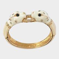 Ciner Double White Panther Bracelet, Enameled & Jeweled