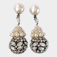Faux Pearl & Crystal Ball Drop Earrings: Made in France, Rousselet Style
