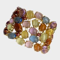 Wide Multi-Color Bracelet with Semi Precious Gems, 1980s