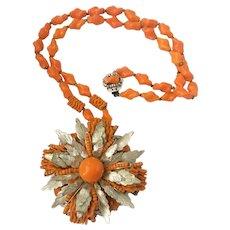 Haskell Huge Ornate Orange Art Glass Floral Pendant-Necklace