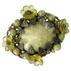 Haskell Victorian Goth-Style Brooch with Mossy Hue Art Glass