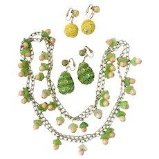 Lively 'Carmen Miranda'-Style Necklace & Drop Earrings: Hongkong