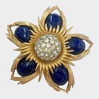 Jomaz Modernist Mogul Style Brooch with Faux Lapis Cabochons, Diamanté