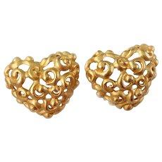 Anne Klein Baroque Rococo- Style Gilt Heart Earrings