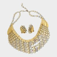 Kramer of New York 'Superb' Faux Pearls, Crystals & Gilt Bib Necklace & Earrings: Ad Pc.
