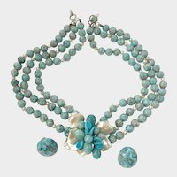 Marbled Faux Turquoise & Pearl Necklace & Earrings Set: Louis Rousselet