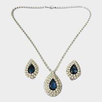 Mogul-Style Faux Sapphire & Diamond Crystals Demi a la Ciner