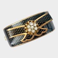 Schiaparelli Pre-War Victorian Revival Bangle with Black Enamel, Gilt Dots & Crystals