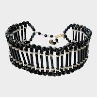 DeLillo Goth-Style Choker Necklace with Black Crystals & Glitzy Rondelles