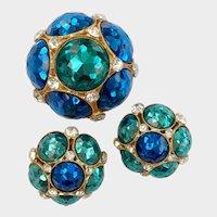 Glittery Blue & Green Metal Alloy 'Faux Crystal' Demi, Early Vogue Jlry
