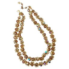 Vendome Champagne Aurora Borealis Crystal and Twisted Chain Necklace
