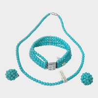 Turquoise Blue Glass Bead Parure: Made in Austria