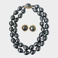 Massive Faux Tahitian Baroque Pearl Choker Necklace & Pearl Earrings, Designer Signed