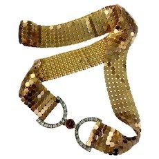 Gilt Mesh Belt with Art Deco Era Hi-Dome Cabochon & Square Crystals Signed Buckle