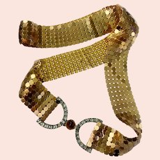 Gilt Mesh Belt with Art Deco Era Hi-Dome Cabochon & Square Crystals Signed Buckle