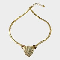 Dior Jeweled Puffed Triangle Deco-Style Necklace
