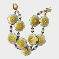 Guilloche Enamel and Rhinestones Puffed Daisy Charm Bracelet
