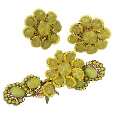 "Haskell Poured Glass ""Ruffles"" Floral Demi, 1960s Robert Clark Design"