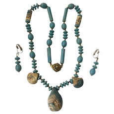 Haskell Blue Lucite and Stone 'Flower Power' Necklace and Earrings Set