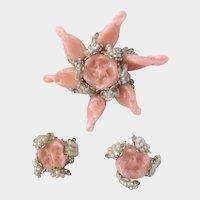 Haskell Pink 'Paté de Verre' Flower & Buds Brooch Earrings Set