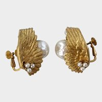 Haskell Unusual Winged Earrings with Faux Baroque Pearl Solitaires