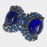 Haskell Robert Clark Most Famous Royal Blue Poured Glass & Strasse Brooch: Book Pc.