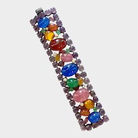 Wide Multi-Faux Gem Cabochon Bracelet: Confirmed Juliana D & E