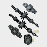Rare Roz Kaplan Originals Victorian Goth-Style Black-and-Grey Floral Silhouette Parure, 1980s