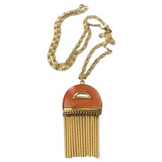 Kramer of New York Modernist Tasseled or Fringe Pendant Necklace