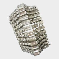 Wide Faux Diamond Crystal Statement Bracelet, 1960s