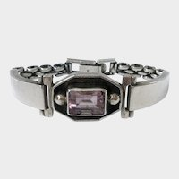 Sterling & Amethyst Deco-Style Wristwatch-Look Bracelet