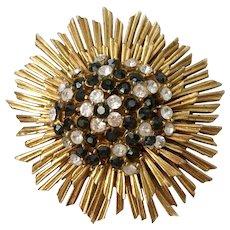 Rare Boucher Marked 'Sunflower' Brooch with Glitzy Rhinestone Center