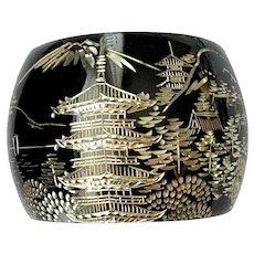 Wide Damascene Cuff Bracelet with Pagoda, Cherry Blossoms & Mt. Fuji: 950 Silver Japan