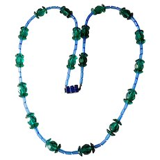 Blue and Green Crystal Necklace with Baguette Clasp, Austria (Schoffel & Co.)