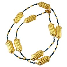 Golden Peanut and Faux Turquoise Bead Necklace, Pre-Columbian Style: Ccori