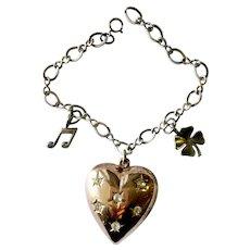 Sterling Vermeil Puffed Heart Charm Bracelet