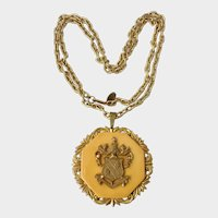 Haskell Rare Bakelite and Gilt Coat-of-Arms Heraldic Pendant Necklace