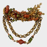HASKELL Lush Floral Swag Brooch with Art Glass Beads, Gilt Chains