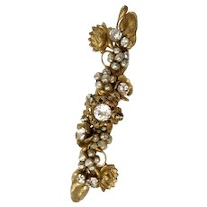 Haskell Faux Baroque Pearl and Rhinestone Roses Montees Swag Brooch