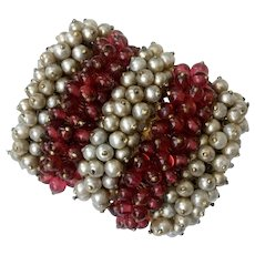 Striped Brooch with Faux Cream Pearls, Red Beads: Unsigned Rousselet