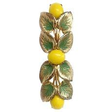 RESERVED: Schiaparelli 'Lemon Sprig' Brooch with Glass Cabochons, Green Enamel