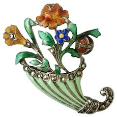 Sterling, Enamel & Marcasite Floral Cornucopia Brooch: Art Deco-Era