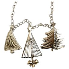 Modernist Silvery Christmas Tree Charm Necklace with Convertible Pins