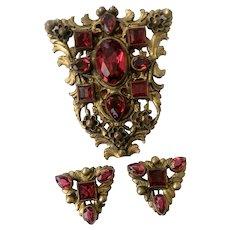 Victorian Nouveau-Style Dress Clip & Earrings Set, with Faux Rubies