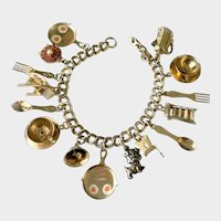 Coro 'Home Sweet Home' Charm Bracelet with Sterling Puppy Pet Dangle