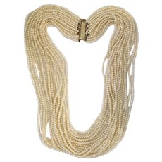 Les Bernard Luxurious 18-Strand Faux Pearl Matinee Necklace